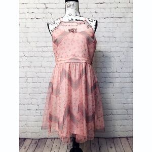 NWT Candie's Juniors Mesh Halter Dress Pink